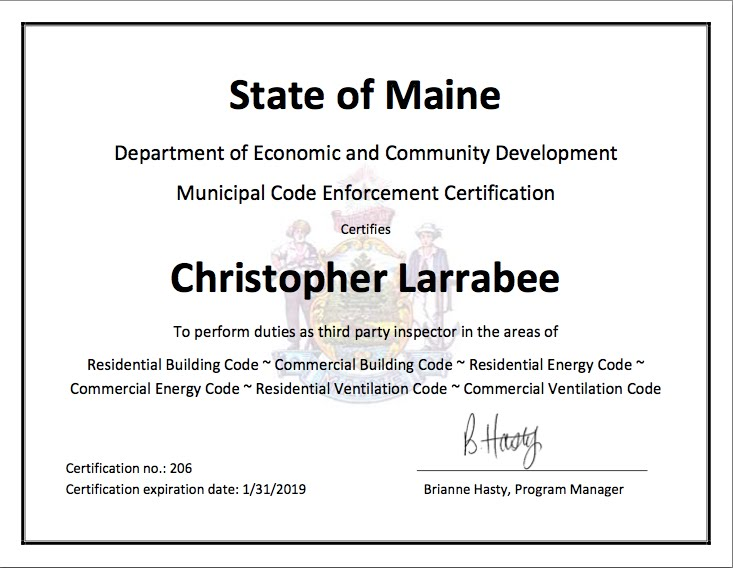 Christopher Larrabee Maine Third Party Inspector Certificate